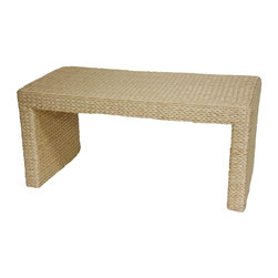 Oriental Furniture - Rush Grass Coffee Table, Natural - Well crafted from attractive, eco-friendly rush grass woven on a sturdy wood frame, in a simple, spare classic design. This is a great table to put in front of a small sofa, couch, or futon. There's room for snacks when you're snacking, and it's the right height to put your feet up, and, no need to worry about scratching the top. Rush grass is an abundant natural fiber found in many places in Asia. As rattan and wicker have become more and more difficult to find, furniture manufacturers have been gratified to find that rush grass makes an appealing surface for woven furniture and decor.