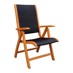 International Caravan - 5 Position Folding Patio Chair - Set of 2 - Set of 2. Fabric sear and back. Complete weatherproof protection and UV light protection. Very heavy and durable. 5 Positions for various comfort zones. Outdoor fabric seating. Made from premium balau hardwood. Stain finish. 28.2 in. L x 24.1 in. D x 43.4 in. H