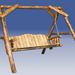 "Montana Woodworks - Glacier Country Log Lawn Swing w A-Shaped Fra - 20-year limited warranty. Made from solid, American grown pine. Hand-crafted in the US, each Montana Woodwork product is made from unprocessed, solid wood that highlights the character of its source tree with unique knots and grains. Made in USA. Minimal assembly required. 88 in. W x 75 in. D x 77 in. HImagine the rustic beauty of this lawn swing gracing your yard, deck or lawn. Swing away the tensions of your day while enjoying the elegance of rustic lawn furniture. Finished in the ""Glacier Country"" collection style for a truly unique, one-of-a-kind look reminiscent of the Grand Lodges of the Rockies, circa 1900."