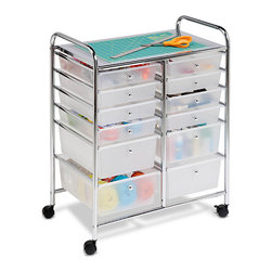 Honey Can Do - Honey Can Do 12-drawer Rolling Cart - This double-wide rolling cart organizer features 12 semi-transparent plastic drawers that allow you to quickly identify drawer contents. Smooth glide casters make this cart easy to maneuver and lock in place for a sturdy work surface.