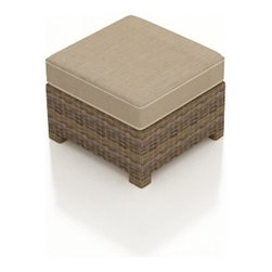 Forever Patio - Cypress Modern Outdoor Ottoman, Spectrum Mushroom Cushion - The Forever Patio Cypress Rattan Outdoor Ottoman with Beige Sunbrella cushions (SKU FP-CYP-OT-HR-SM) is the perfect addition to your Cypress patio set, either as a footrest or as an additional seat. The heather-colored resin wicker is UV-protected, and features subtly muddled tones for a varied, natural look. Each strand of this outdoor wicker is made from High-Density Polyethylene (HDPE) and is infused with its rich color and UV-inhibitors that prevent cracking, chipping and fading ordinarily aused by sunlight. This outdoor ottoman is supported by thick-gauged, powder-coated aluminum frames that make it more durable than natural rattan. This ottoman includes a fade- and mildew-resistant Sunbrella cushion for added comfort in your outdoor area.