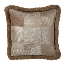 "Dian Austin Couture Home - Dian Austin Couture Home Patchwork Pillow w/ Brush Fringe, 20""Sq. - A lustrous combination of fabrics in tones of putty and pewter gives these bed linens an abundance of textural appeal. The highly detailed quilted pieces display an Italian-inspired classic vermicelli paisley design. Woven in the USA of olefin/polyeste..."