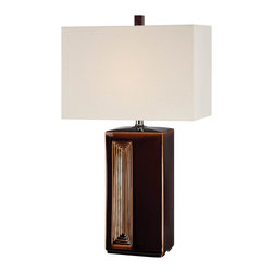 Lite Source - Lite Source Caramella 100W Incand. Transitional Table Lamp XSL-99122 - A rectangular body with unique step detailing comes accentuated by a beautiful Coffee finish on this Lite Source table lamp. From the Caramella Collection, this transitional table lamp also features sturdy Ceramic construction and a linen Fabric diffuser in a matching rectangular shape.