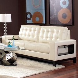 """Coaster - Paige Sofa, Cream - Style meets function. Add the Paige collection to your living room for a sophisticated and casual style. Featuring plush high resiliency foam cushions, tufting on the back and seats and a solid wood frame around the base. What sets this sofa collection apart is the unique and convenient storage compartments on the outside of each side arm.; Casual Style; Finish/Color: Cream; Upholstery: 100% Bonded Leather; Dimensions: 83.50""""L x 35.50""""W x 38.25""""H"""