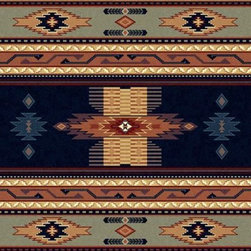 Phoenix Navy Multicolor Southwestern Manhattan Collection Rug - This is a perfectly cozy entryway rug. I love the mix of warm tones with the cooler blues.