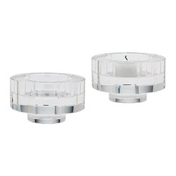 Lazy Susan - Round Windowpane Crystal Small Candleholders, Set of 2 - Round Windowpane Crystal Small Candleholders , Set of 2