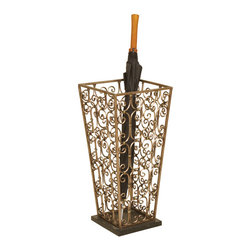 Welcome Home Accents - Scrolled Umbrella Stand - This antiqued metal umbrella stand is a beautiful and functional storage piece in scrolled gold metal finish with black marble base. It  can easily be incorporated into a variety of decor styles. No assembly required. Wipe with a dry cloth.