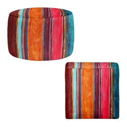 DiaNoche Designs - Ottoman Foot Stool by Ruth Palmer - Feel Good - Lightweight, artistic, bean bag style Ottomans.  Coming in 2 squares sizes and 1 round, you now have a unique place put rest your legs or tush after a long day!. Artist print on all sides. Dye Sublimation printing adheres the ink to the material for long life and durability. Printed top, khaki colored bottom, Machine Washable, Product may vary slightly from image.