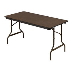Iceberg - 60 in. Economy Wood Laminate Folding Table in Walnut Finish - Strong, durable and multi-purpose. Gravity lock. Heavy duty leg supports. 1 in. diameter steel legs. Protective foot cap. Black vinyl T-mold edge. Melamine sealed underside. Wear resistant 0.63 in. thick melamine top. Melamine sealed underside. Prevents moisture absorption. Steel skirt support with plastic corners. 60 in. W x 30 in. D x 29 in. HIceberg wood laminate folding tables offer a traditional look that will coordinate with any environment.