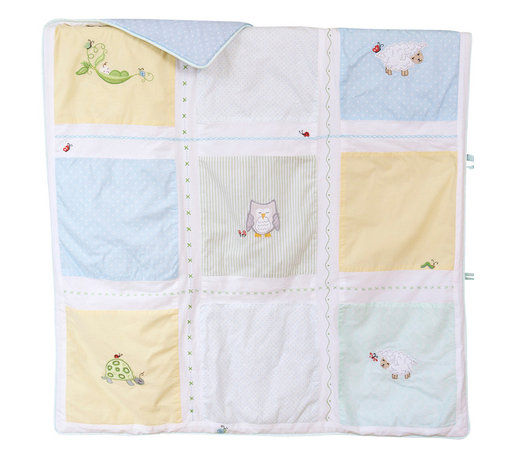The Little Acorn - Sweetpea Quilt - Sweet Pea coverlet has beautifully hand crafted applique's and embroideries in a classic patchwork layout adorned with tiny special hand embroidered creatures in surprise little places. Expertly hand tufted 100% pure cotton percale with hypoallergenic fill. Reverse of coverlet has pole pocket at top for display option. Machine washable. Made in China