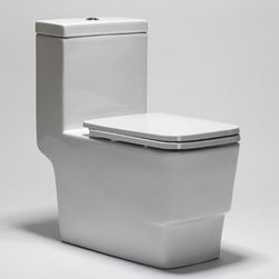 Blu Bathworks Box Toilet One-Piece Siphon Jet Seat Sold Separately - Sleek elongated skirt design & angular lines make for a unique w.c. for the modern bathroom 1.28 G / 4.8 litre, HET one piece, siphon-jet toilet.