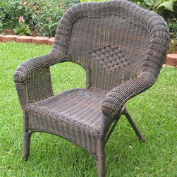 International Caravan - Resin Wicker Patio Chair - Set of 2 (White) - Finish: WhiteSet of 2. Unique camelback design. UV light fading protection. All weather resistant. Deep seated. Made from premium wicker resin. No assembly required. 58 in. W x 56 in. D x 70 in. H (76 lbs.)