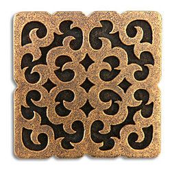 "Compliments Accessories - Mosque Tile - Byzantine scrollwork design 2x2"" tile in an Aged Brass finish"