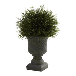 "Nearly Natural - Potted Grass w/Decorative Urn (Indoor/Outdoor) - Say it loud and proud - We love grass!! Left to grow, grass is fluffy, light, and oh-so-lush. And that look has been perfectly captured in this lovely ""grass in an urn"" piece that's ideal for any decor - even outdoors! The grass blades look fresh and crisp, and the decorative urn looks strong and stately. Together, they make the perfect accent piece, ideal for home or office."