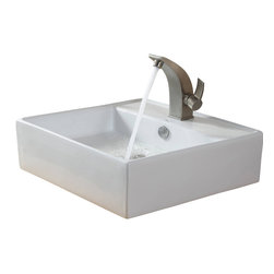 Kraus - Kraus White Square Ceramic Sink and Illusio Basin Faucet Brushed Nickel - *Add a touch of elegance to your bathroom with a ceramic sink combo from Kraus