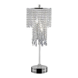 Warehouse of Tiffany - Crystal Table Lamp - Add a sparkling touch to your living space with this crystal-embellished table lamp. A chrome finish and three-light design highlights this lamp. Crystal table lampSetting: IndoorFixture finish: ChromeSwitch: InlineNumber of lights: Three (3)Requires three (3) 40 watt bulbs (not included)Dimensions: 31 inches height x 12 inches diameter at shadeThis fixture does need to be hard wired. Professional installation is recommended.CSA Listed, ETL Listed, UL Listed