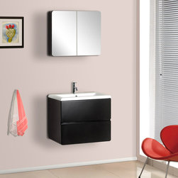 BathAuthority LLC dba Dreamline - Wall-Mounted Modern Bathroom Vanity with Porcelain Counter & Medicine Cabinet - DreamLine ceramic bathroom vanities are available in different styles and colors. Combining beauty with function, they would fit any bathroom design. Made with high quality MDF wood