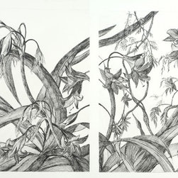Dahlia Diptych - Dahlia Diptych, Black & white pen & ink diptych drawing on archival paper - Arches
