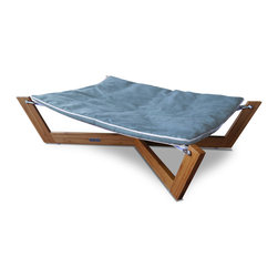 Pet Lounge Studios - Bambu Cross Hammock I, Berry Blue, Small - The Bambú Hammock's combination of clean lines, unique sleeping surface and rich eco -friendly materials make it our most sought after design. The unique sleeping surface responds to your pet's body weight which helps relieve many of the pressure points that create discomfort and often lead to arthritis. The Hammock is designed with a solid bamboo frame and a removable/reversible ultra-suede cushion which is inherently stain resistant and hypoallergenic.