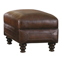 Chelsea Home Furniture - Chelsea Home Abilene Ottoman in Hillsboro Prairie Meadows - Ottoman in Hillsboro Prairie Meadows belongs to Abilene Collection by Chelsea Home Furniture Traditional design featuring three over three seating in a relaxed look suitable for any home. The back and seat cushions are sewn in a trapunto affect, similar to a picture frame, which showcases the leather's natural colors and textures. Harp shaped arms are contoured in a graceful curve to enhance the details of the arm and front seat area. The brass finished nail head trim is individually nailed to outline the overall shape of the upholstered item. Beautiful turned all wood legs complete the piece's legacy of traditional style. Ottoman (1)