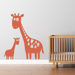 Cherry Walls - Giraffe Vinyl Wall Decal - It's all happening at the zoo … and in your baby's nursery, too! Create a playful, environment for you child with this mother and baby giraffe decal set.  Available in colors to go with every decor.