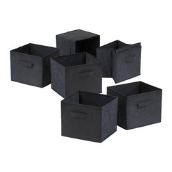 Winsome - Capri Set of 6 Foldable Black Fabric Baskets - Set of 6 Foldable black fabric containers. Use the large size as a magazine holder, file holder, art project holder. The next 3 sizes are great for decorative storage and organization: washcloths in the bathroom, note pads at work, personal items in chest of drawers. When not in use, they fold for easy storage. Easy to assemble