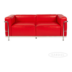 Kardiel - Kardiel Le Corbusier Style LC3 Loveseat, Red Aniline Leather - Kardiel offers the highest quality Le Corbusier LC3 Grande' style reproduction on the market. We specialize in this series and understand fully the intricacies of the original design. From the supple Genuine Top Grain Premium Soft Aniline Leather to the plump generously filled and wrapped cushions, our full list of features means you don't have to settle for an inferior reproduction. You also don't have to pay more. With Kardiel's signature reproduction, you can have your own version of the Le Corbusier LC3 Grande series. Compare this reproduction anywhere for its highest standard of exacting detail. The accuracy of this LC3 Grande reproduction is second to none.