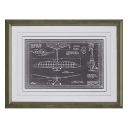 Paragon - Aero Blueprint VI - Framed Art - Each product is custom made upon order so there might be small variations from the picture displayed. No two pieces are exactly alike.