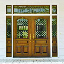 Estate Collection - DbyD1044 - The intricacy of the glass work on this front door and panels really makes the set. The afternoon light would flood into this entry way.