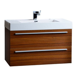 "CBI - ConceptBaths 35.5"" Wall-Mount Contemporary Bathroom Vanity Teak TN-M900-TK - Transform the look of your bathroom instantly! This contemporary bath vanity features a white man-made stone top with a square basin usually only seen in upscale boutique hotels and spas! Paired with an equally impressive large capacity storage cabinet loaded with premium amenities, the vanity offers design and value never before offered or seen in the mass market."