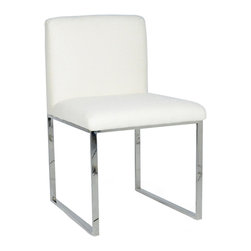 Palecek - Atlantic Dining Side Chair - The Atlantic dining side chair introduces streamlined sophistication to the mod interior. Boldly refined, its silver stainless steel frame outlines a contemporary seat for a truly posh statement. Available in several fabrics, leather or COM