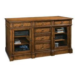 """Hekman - Urban Ash Burl 66"""" Entertainment Console - Hekman Urban Ash Burl 66"""" Entertainment Console; Urban Ash Burl Finish; Features plenty of storage space behind beveled glass doors and multiple drawers; Adjustable Shelves (2, - 1 behind each door) inside doors can accommodate electronic components; Speaker grill options is available on some models; Tech-Ready features include power outlet, gaming port, wire management, and docking station for MP3 players and other personal devices; Dimensions: 66""""L x 21""""W x 36.5""""H; Left/Right Cabinet Interior: 20.8""""L x 18""""W x 23.4""""H; One wood shelf behind each door"""