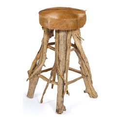 Cowboy Western Barstool - The Cowboy Western Wood Barstool features a 30 inch tall stool with a 15 inch diameter seat. The stool is assembled with unfinished driftwood and shows cowboy construction. The seat of the Cowboy Western Wood Barstool has hide look-alike seat cover that adds to the rawness of the furniture item. The barstool can be used to set cowboy theme in local bars on any special day or occasion or can be used for a change from the regular bar setting. The raw structure of the Cowboy Western Wood Barstool is very stable and strong as the four legs are joined by drift wood connectors at two places along the length. The barstool can also be used in home for creating a richer bar experience.