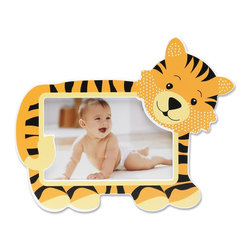 Lawrence Frames - Nursery Collection - Tiger 6x4 - Adorable tiger picture frame. Cute animal themed picture frame is the perfect compliment to any nursery or makes the perfect gift. High quality black wood backing with easel for table top display. Individually boxed.