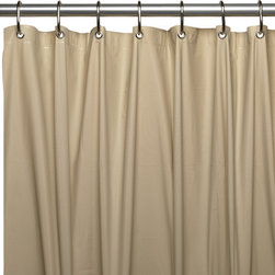 """3 Ga Vinyl Shower Curtain Liner w/ Magnets and Metal Grommets in Linen - 3 gauge vinyl shower curtain liner with metal grommets and magnets in Linen, size 72""""x72"""". This standard-sized (72'' x 72'') Shower Curtain Liner is constructed from a heavy (3 gauge) Vinyl that is highly water repellant and easy to clean. Additionally, weighted magnets along the bottom of the liner fasten securely to your tub--leaving water where it belongs, while metal grommets along top of the liner prevent tearing. Here in Linen, this liner is available in a variety of fashionable colors. With its wonderful features and fashionable colors, this liner can do more than just protect your shower curtain; it can be a shower curtain. Wipe clean with damp sponge with warm soapy cleaning solution"""