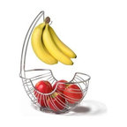 """Spectrum Diversified Design - Pantry Works Ellipse Fruit Tree - Display your fruits and vegetables in style with the Pantry Works Fruit Tree. The smart open design and mesh bottom lets air circulate allowing fruits and vegetables to evenly ripen. An attached banana hook keeps bananas from bruising and allows you to store all your produce in one convenient place. Made of sturdy steel its clean and classic design will add a contemporary touch to your kitchen. Not dishwasher safe.Open design helps fruits and vegetables evenly ripensKeeps bananas off the counter to prevent bruisingSturdy steel construction 15 1/4""""h x 7 1/2""""w x 12 3/4""""d"""