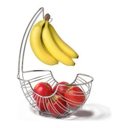 "Spectrum Diversified Design - Pantry Works Ellipse Fruit Tree - Display your fruits and vegetables in style with the Pantry Works Fruit Tree. The smart open design and mesh bottom lets air circulate allowing fruits and vegetables to evenly ripen. An attached banana hook keeps bananas from bruising and allows you to store all your produce in one convenient place. Made of sturdy steel its clean and classic design will add a contemporary touch to your kitchen. Not dishwasher safe.Open design helps fruits and vegetables evenly ripensKeeps bananas off the counter to prevent bruisingSturdy steel construction 15 1/4""h x 7 1/2""w x 12 3/4""d"