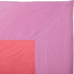Serena & Lily - Color Frame Duvet Watermelon/Violet - The beauty of this simple color-block design is that it sets the stage for a multitude of looks. Use it as a starting point for adding even more color, or let it be the one bold element in an all-white bed.