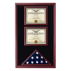 Flags Connections - 2 Documents Flag Display Cases - Our 2 Documents or 2 Award Display Flag Case will be able to showcase your military documents and awards along with an American Flag.