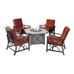 Holly and Martin - Xander Outdoor Stationary Spring Rocker Chairs, 4-Pack - Enjoy a night of relaxation outdoors with this contemporary set of four stationary spring rocker chairs. It's the perfect way to embrace serene outdoor living.