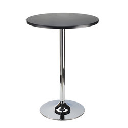 """Winsomewood - Spectrum Pub Table 24"""" Round, Black with Chrome - New Spectrum Pub Table is designed to match the airlift stools in this line. The table top is made of sturdy MDF material and is 24"""" in diameter. The base is chrome. The 40"""" height is perfect for entertaining and casual dining. Ships ready to assemble with tools and hardware."""
