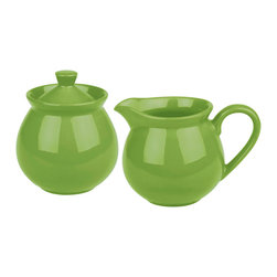Waechtersbach - Creamer and Sugar Set Fun Factory Green Apple - Complete your coffee or tea service with this Fun Factory Green Apple Sugar and Creamer. With their vibrant color and contemporary shape, these must-have kitchen accessories will look lovely on your table. Sugar bowl includes lid.