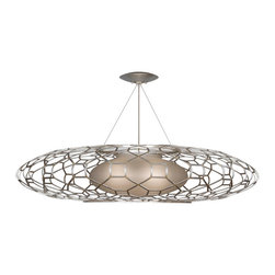 Fine Art Lamps - Allegretto Gold Pendant, 816940-2ST - Style your favorite setting with warmth and light. Here, the handblown inner shade is bubbled to accentuate the glass, while the metal cage is a study in delicate strength. Opt for platinized silver or burnished gold-leaf finish.