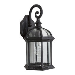 Sunset Lighting - One-Light Black Cast Aluminum Outdoor Wall Lantern with Clear Beveled Glass and - - One-Light Black Cast Aluminum Outdoor Wall Lantern with Clear Beveled Glass and Texture Detail.   - Bulb not included.   - Clear Beveled Glass.   - Outdoor listed.   - Hangs Downward.   - Cast Aluminum. Sunset Lighting - F7949-31