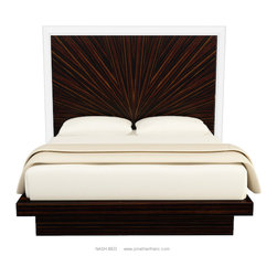 JONATHAN FRANC - NASH BED by Jonathan Franc - NASH BED shown in Macassar Ebony with Acrylic framed headboard.  Available in an Eastern King, Cal King, and Queen sizes, as well as in custom sizes and finishes.