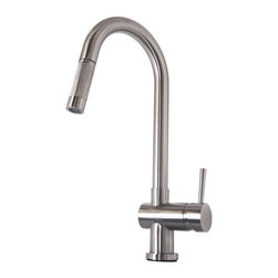 Virtu USA - Virtu USA Huya PSK-1002 Kitchen Faucet - The Huya single handle kitchen faucet comes complete with housing designed to resist the wear and everyday use and then some. Take notice in the beautiful modern design accompanied by an ADA compliant lever handle for a much more simpler accessibility. It is immaculately designed with simplicity while maintaining multifunctional purposes. The Huya kitchen faucet was designed with both luxury and practicality in mind.