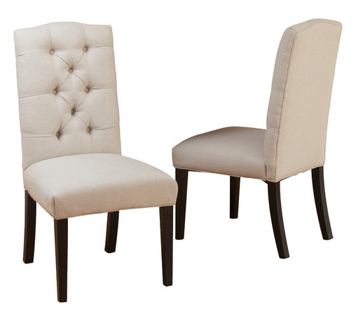 Great Deal Furniture - Prince Upholstered Dining Chair (Set of 2) - The Prince dining chair is a classic piece upholstered with soft polyester fabric, and styled with buttons tufted backrest. If you are looking an elegant accent to your dining area, you will enjoy this dining chair.
