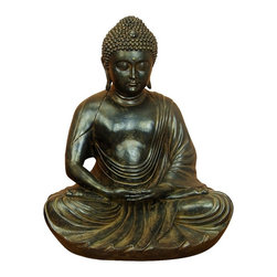 Benzara - Large Meditating Buddha Peace Harmony Statue Bronze Home Decor - Graceful large meditating Buddha peace and harmony statue made from polystone in rich bronze finish home display decor
