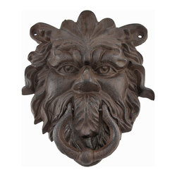Zeckos - Cast Iron Greenman Door Knocker Rust Colored Patina - Add a decorative accent to your door with this Greenman door knocker. Made of cast iron, it measures 9 inches tall, 7 inches wide, 2 inches deep, and has a beautiful rust colored patina. This piece has 3 pre-drilled holes for mounting it to the door. It makes a lovely housewarming gift for followers of Nature religions, and is sure to be admired.