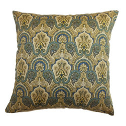 """The Pillow Collection - Hagfors Paisley Pillow Blue 18"""" x 18"""" - Decorate your home with this fancy throw pillow. This accent pillow adds a touch of elegance with its intricate paisley print pattern in hues of blue, yellow and white. Throw this decor pillow on top of your sofa, bed or sectionals for added style and comfort. This 18"""" pillow is made from 95% cotton and 5% linen fabric. Make your interiors more pleasing to the eyes with this square pillow. Hidden zipper closure for easy cover removal.  Knife edge finish on all four sides.  Reversible pillow with the same fabric on the back side.  Spot cleaning suggested."""